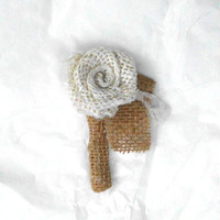 Burlap and Lace Boutineer boutonniere Ivory Rose Handmade Fabric Flower Vintage Inspired  Custom Boutonniere, Button hole