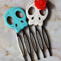 Day of the Dead Sugar Skull Hair Comb Clip