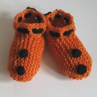Orange and Black Booties - Earth Friendly Merino Wool