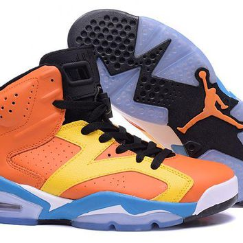 Air Jordan Retro 6 Orange Yellow Blue Custom - Beauty Ticks