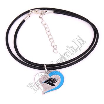 New styles Swirl Heart  Carolina Panthers Football Team Necklace  Leather Sport Team