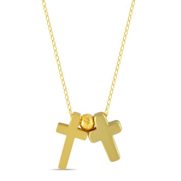 Tiny Double Cross Necklace, Gold Plated Small Christian Necklace, Dainty Necklace