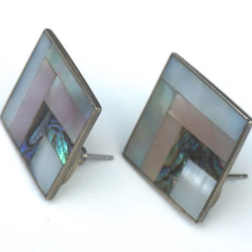 Mother of Pearl and Alpaca Earrings,Square Earrings, Mexican Silver Earrings, Abalone and Paua Shell Earrings,Mexican Jewelry,Post Earrings,