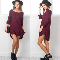 New Womens Loose Slit Dress Gift-29