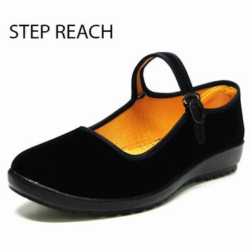 Woman Flat Black Canvas Suede Buckle Strap Casual Shoes