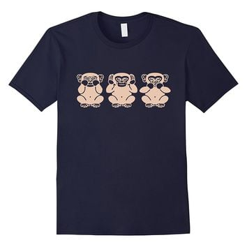 See no evil-hear no evil-speak no evil T-Shirt.Three Monkeys