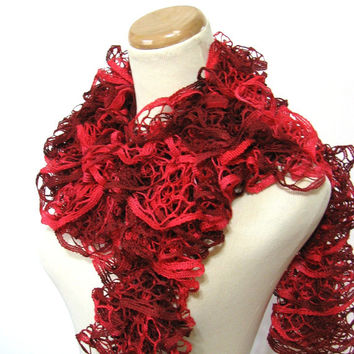 Red Hand Knit Ruffled Scarf, Red Scarf, Ruffle Scarf
