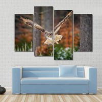 Flying Eurasian Eagle Owl In Colorful Winter Forest Wing Span In Fly Canvas