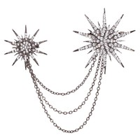 Yazilind Jewelry Vintage Light Black Flower Crystal Alloy Brooches and Pins Gothic for Women Gift Idea