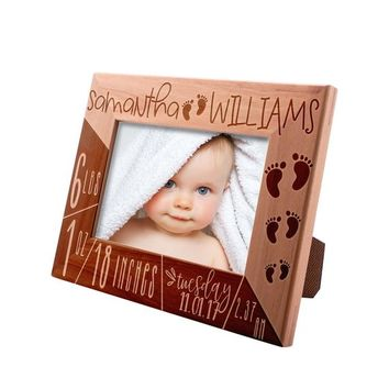 Personalized Picture Frame 4x6 5x7 8x10,Birth Announcement Frame, ngraved Picture Frame Baby Name, Stats, Birth Information, Best Baby Gift