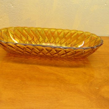 VINTAGE AMBER GLASS RELISH DISH