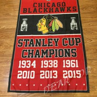 3X5FT Chicago Blackhawks flag NHL StanleyCup Champions Banner Digital Printing