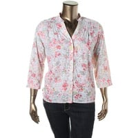 Alfred Dunner Womens Petites Floral Print 3/4 Sleeves Button-Down Top