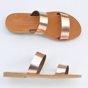 Sandals, Leather sandals, Two strap greek sandals in rose gold leather, Women's shoes