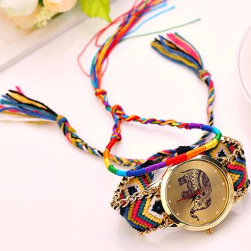 "Women Hot Handmade Weaved Braided Elephant Pattern Bracelet Dial Casual Quartz Watch ""FREE SHIPPING"""