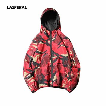 LASPERAL 2018 Autumn Winter Men Running Jacket Camo Printed Zippered Reversible Jacket Flight Windbreaker Outdoor Hooded Jacket