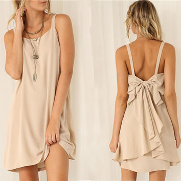 Blush Back-Bow Dress