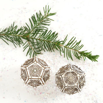 DIY Model Kit / Set of Two Snowflake Ornaments / Holiday Gift / Sacred Geometry