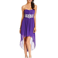 City Studios Juniors Dress, Strapless Rhinestone High-Low - Juniors Homecoming Dresses - Macy's