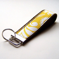 Fabric Key Wristlet, Key Fob, Key Chain, buttery Yellow and White on dark Brown cotton webbing