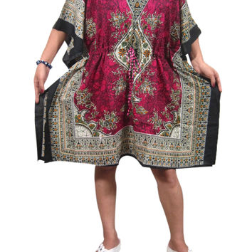 Women's Bohemian Kaftan Dresses Short Caftan Pink Cover up Tunic Beach Dress