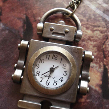 Necklace Pendant Robot Pocket Watch Gift Chain by Azuraccessories