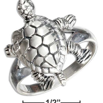 High Polish Movable Turtle Ring - Sterling Silver