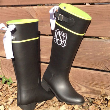 Tall Custom Riding Black Rain Boot with White Bows
