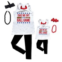 Baseball Tank Shirt Out To The Ball Game White Red Mommy Me