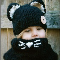 Children warm winter scarf hat cap set two sets of hand woven cartoon cat hat 171123