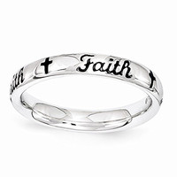 Sterling Silver Black Enamel Faith Ring by Stackable Expressions, Best Quality Free Gift Box Satisfaction Guaranteed