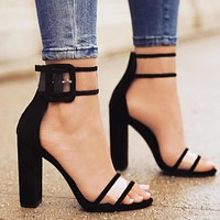 LALA IKAI Ankle Buckle Denim Sandals Women 2017 Clear Heels Perspex Transparent Shoes Size 10 Thick High Heels Sandals 01C0724-4