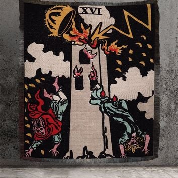Large Woven Tapestry - The Tower Tarot Card Tapestry - Rider Waite Deck - Cotton