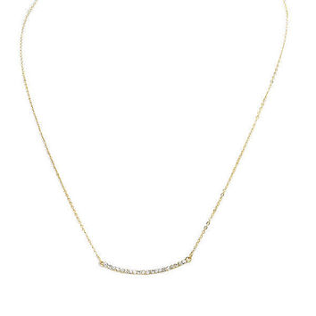 Dainty Thin Curved Gold Rhinestone Bar Pendant Layering Necklace
