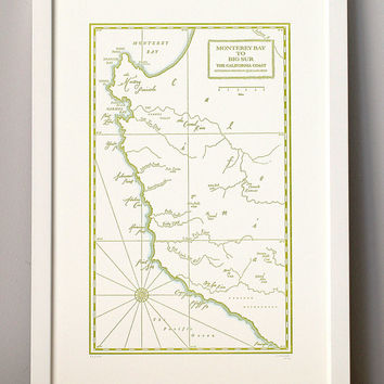 Monterey Bay to Big Sur, California Coast, Letterpress Printed Map (Olive)