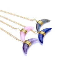 Womens Natural Crystal Opal Stone Crescent Moon Horn Chain Pendant Necklaces 1Pc