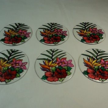 Designer 6-Inch Round Sun Catchers Set of 6 Multicolor Flowers Glass -- New