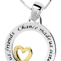 Two-Tone Sterling Silver and Yellow Gold-Plated Sisters Pendant Necklace, 18""