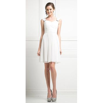 Cinderella Divine 3832 Off White Chiffon Thick Strap Sweetheart Neckline Short Cocktail Dress
