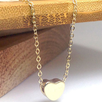 Tiny Heart Necklace - Gold Heart Necklace, Dainty Gold Necklace, Delicate Necklace, Simple Jewelry, Small Heart Charm, Gift For Her