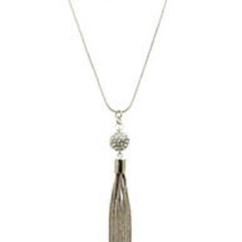 Silver Tassel and Crystal Ball Necklace