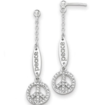 925 Sterling Silver Extra Long CZ Peace Emblem Post Dangle Earrings