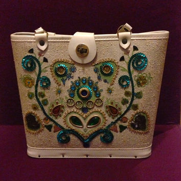 Vintage Wooden Bottom Jeweled Purse