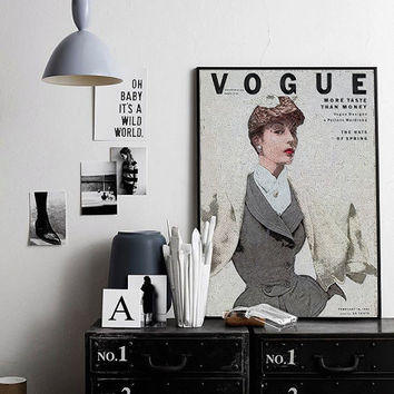 Vintage Fashion Illustration Vogue Poster Fashion Wall Art Vogue Print Feminin Fashion Art Vintage Vogue Cover Vogue Magazine PRINTABLE ART