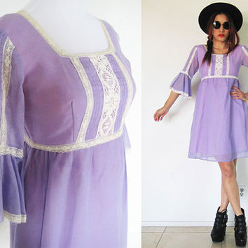 Vintage 70's lace lilac purple violet hippie gunne sax prairie bohemian boho babydoll summer mini day dress