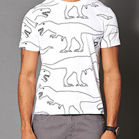 Dino Print Cotton Tee White/Black