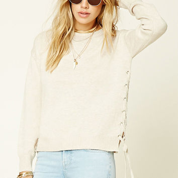 Heathered Lace-Up Sweater Top
