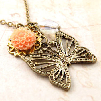 Butterfly Necklace with Flower and Crystal Accent