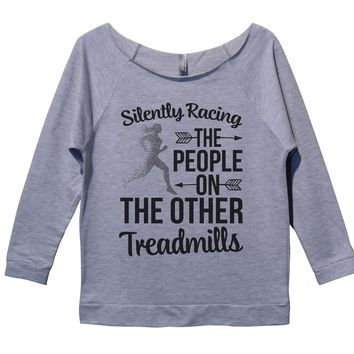 Silently Racing The People On The Other Treadmills Womens 3/4 Long Sleeve Vintage Raw Edge Shirt