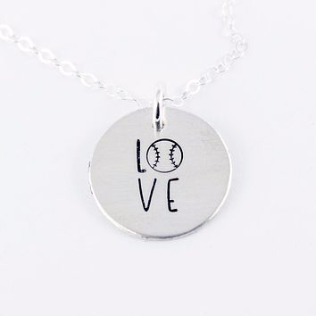 Baseball Love Necklace - Sterling Silver